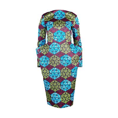 Geometric print dress green
